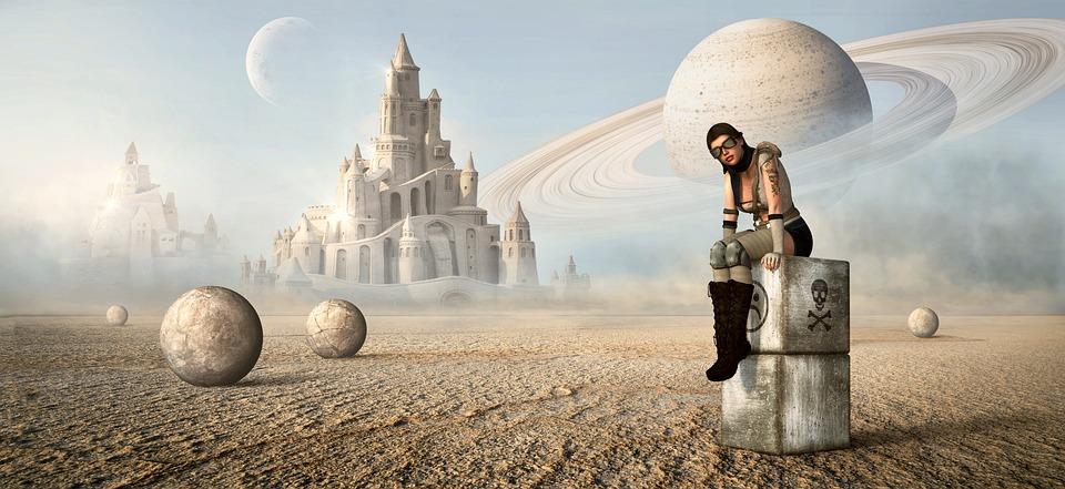 Fantasy, Desert, Girl, Castle, Planet, Moon, Landscape