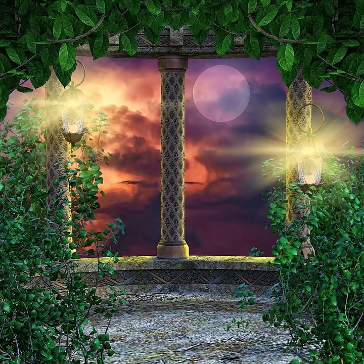 Fantasy, Background, Backdrop, Architecture, Foliage