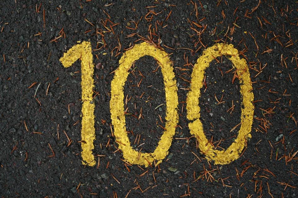 ゴルフ, ヤード, 黄色, 舗装, 100, 百, 番号