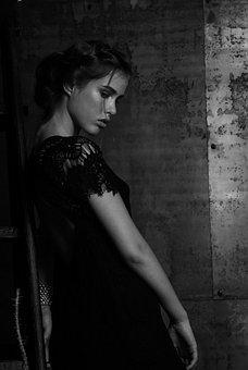 White, Black, Art, Women, Girl, Model