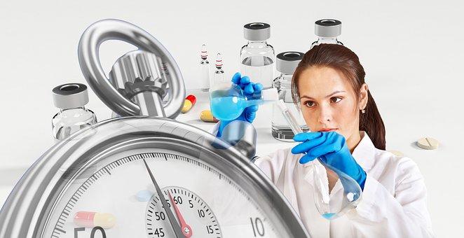 Vacuna, Químico, Jeringa, Cronómetro