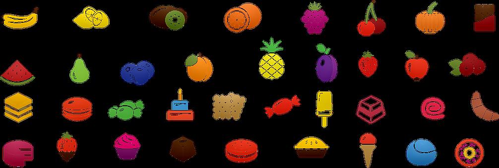 Icone Di Alimenti, Frutta, Cookie, Dolci