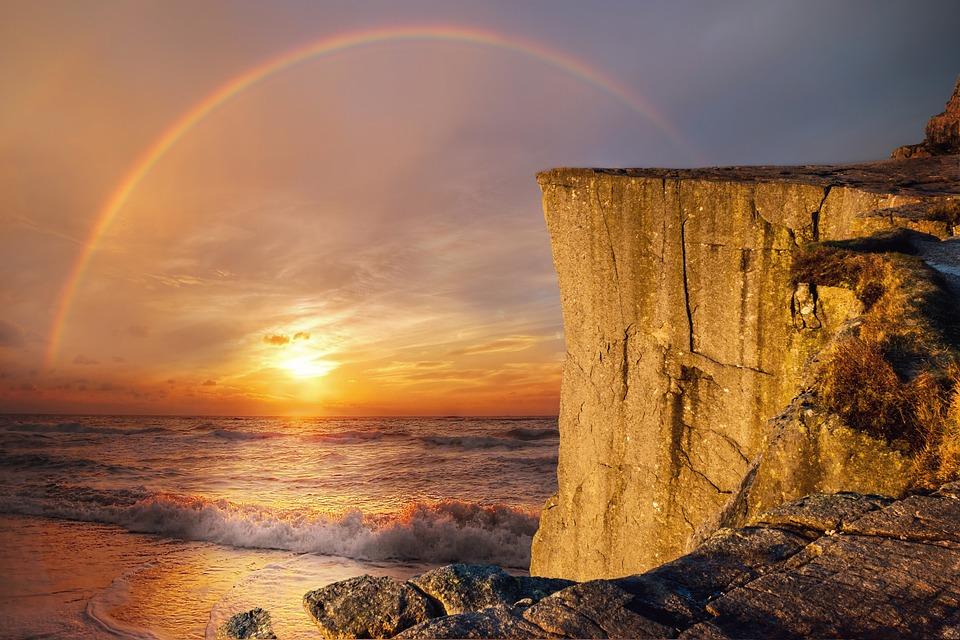 Landscape, Fantasy, Sea, Rainbow, Cliff, Sun, Wave