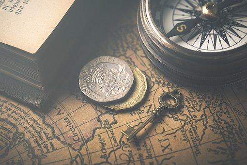 Vintage, Map, Compass, Atlas, Coins, Key