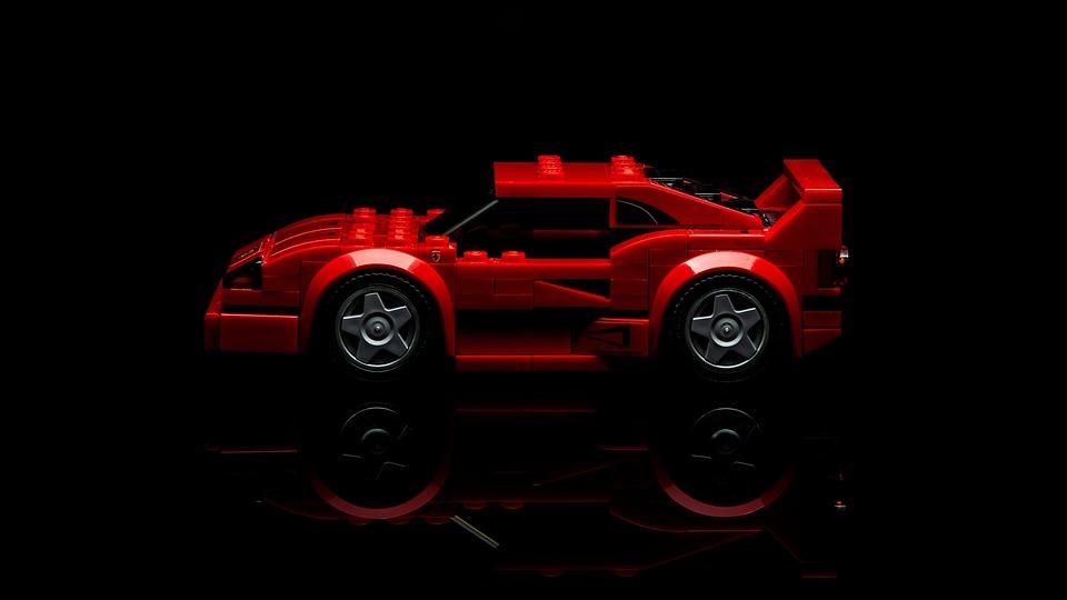 フェラーリ, レゴ, おもちゃ, 車, レース, 設定, トラック, 小児期, ブロック, 競馬, 赤