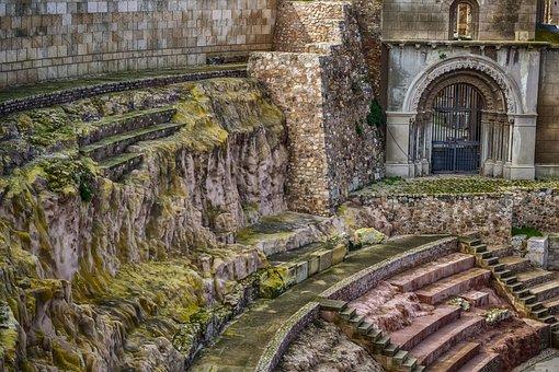体系结构, 废墟, 剧院, 罗马, 老, 石