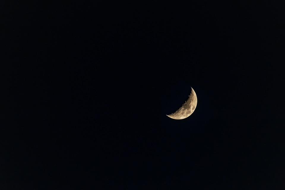 ハーフ ムーン, 空, 泊, 月, スペース, 青, 月の, 星, 雲, 月光, ルナ, 雰囲気, 三日月