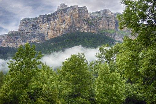景观, 山, 森林, 雾, 天空, 云, 比利牛斯