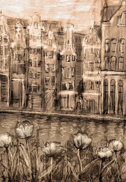 Amsterdam, Belanda, Tulip, Menggambar, Sketsa, Saluran