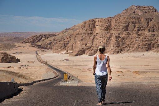 Donna, A Piedi, Deserto, Strada, Sinai