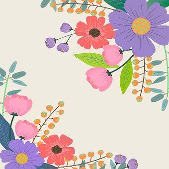 Digital Paper, Floral Corners, Lace