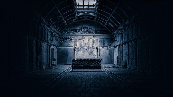 空间, 霍尔, Pforphoto, 弃, 气氛, 心情, 阴沉, 黑, 沙发