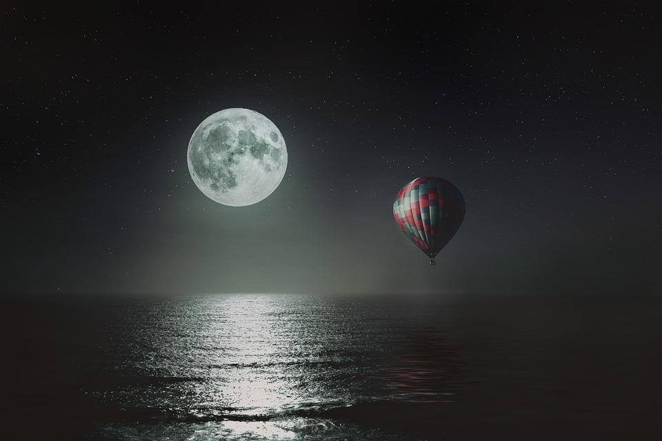 風景, ファンタジー, 夜, 海, ムーン, 反射, バルーン