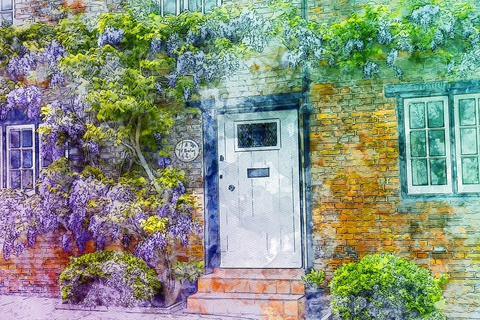 Wisteria, House, Red Brick, Old, Architecture, Plant