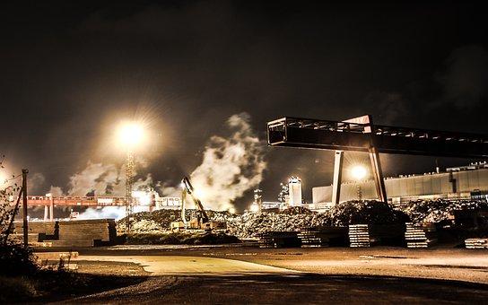Industry, Steam, Factory, Metal, Night