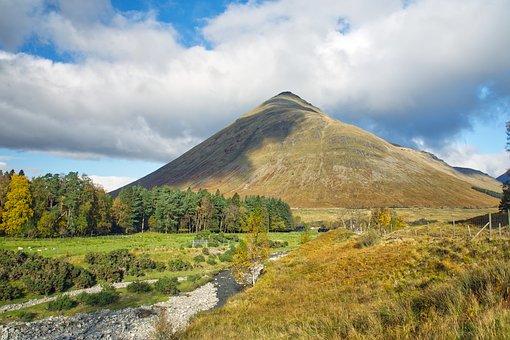 山, 风景, 景观, 苏格兰, 贝Dorain