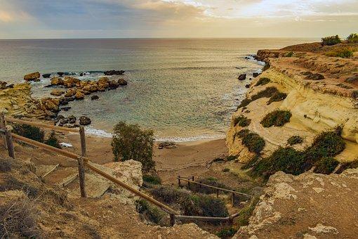 科夫, 海滩, 海, 桑迪, 海岸, 景观, 悬崖, 风景, Kapparis