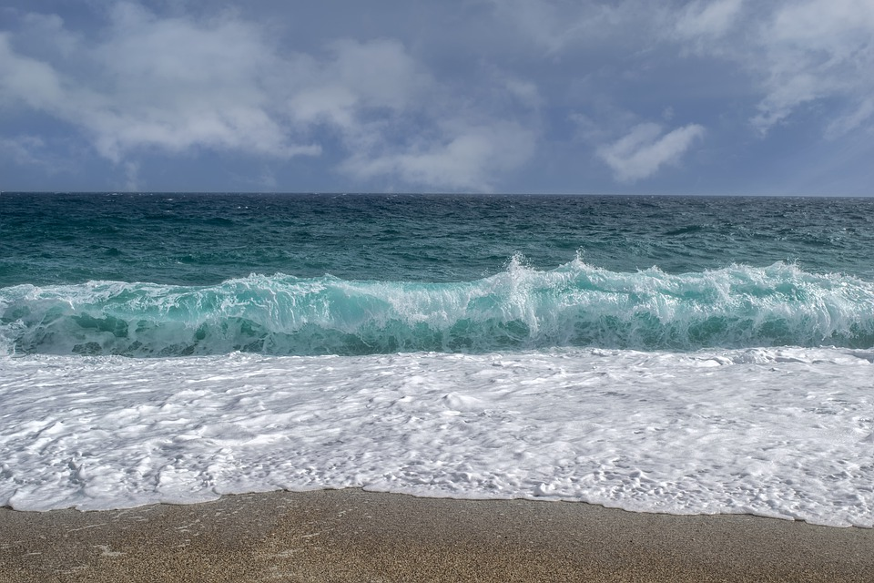 Landscape, Sea, Waves, Foam, Sand, Sky, Almeria, Spain