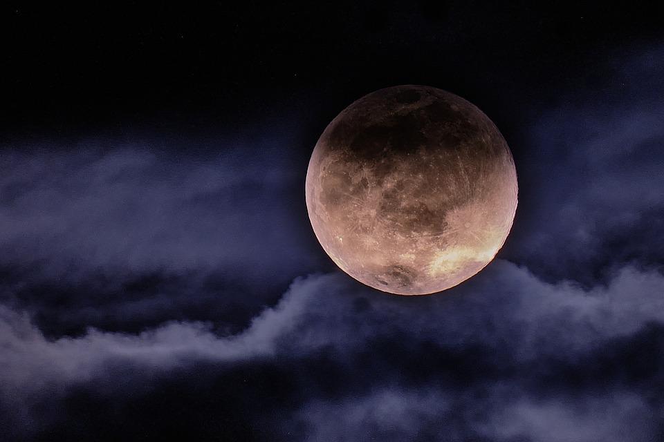 月, クラウド, ムーン, 雲, 空, 夜, 雰囲気, 夢, 暗い, 星, 曇り