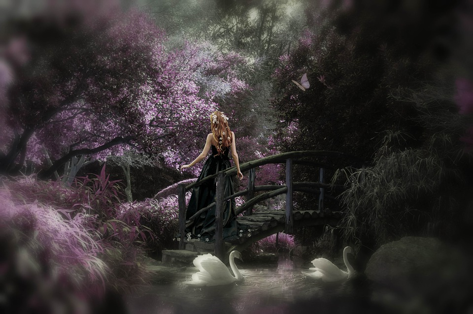 Fantasy, Park, Girl, Pond Swans, Silent, Nature