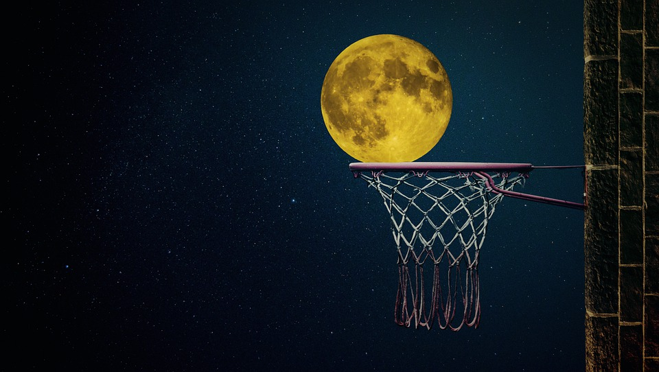 Moon, Moonlight, Night, Full Moon, Basketball, Ball