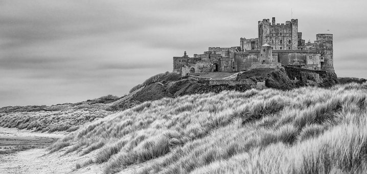 Bamburgh, Castle, Mono, Coast, Historic