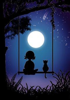 Nuit, Jeune Fille, Cat, Swing