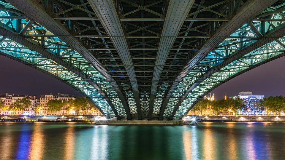 Pont, Rivière, Ville, L'Architecture, L'Eau, Lyon, Nuit