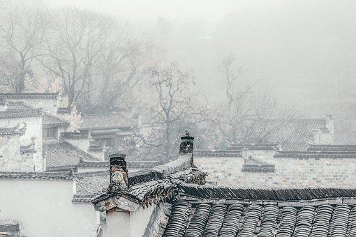 Village, Roofs, Fog, Mist, Houses