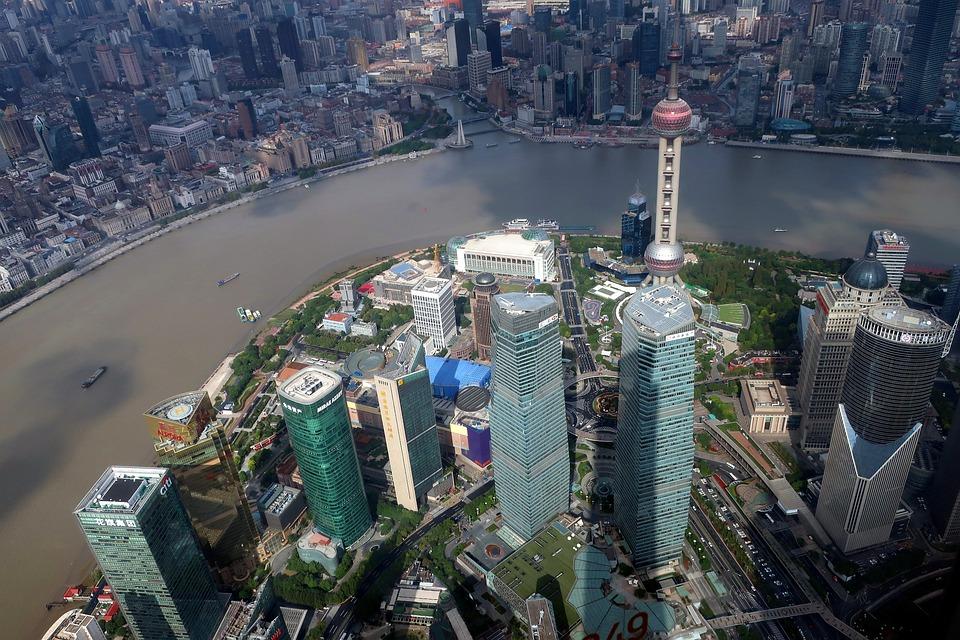 Shanghai, City, Cityscape, Miejskich, Budynku, Chiny