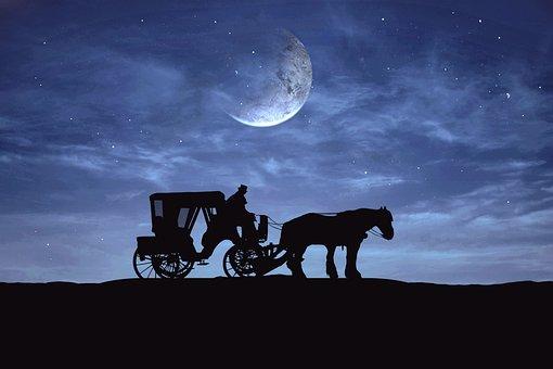 休息, 享受, 半个月亮, 夜晚的星星, 美丽的夜晚, 气氛, 大气, 侧影