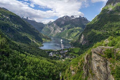 景观, 峡湾, 挪威, 山, 邮轮, 天空, 云