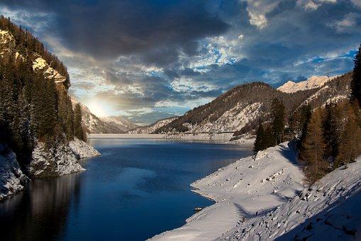 山, 高山, 水库, 瑞士, 日落, 景观, 雪, 冬天, 性质, 湖, 森林