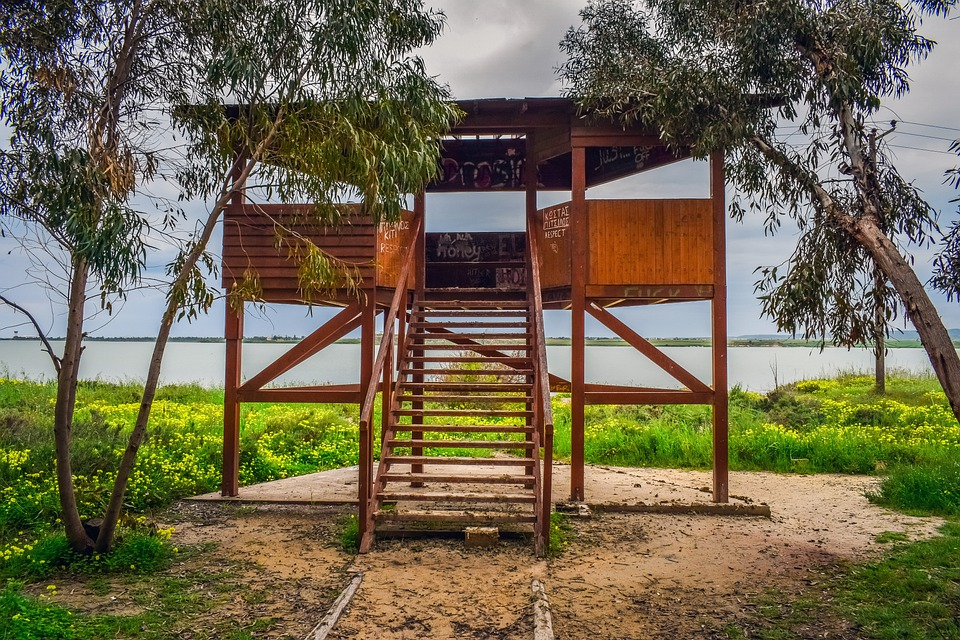 Watching Tower, Observation Tower, Wooden, Lake