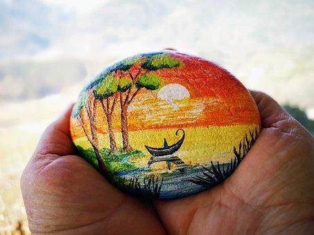 Batu, Lukisan, Pemandangan, Tangan, Alam