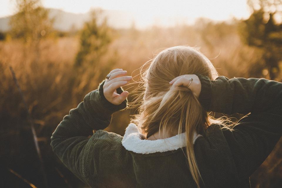 自然, 女の子, 日没, 髪