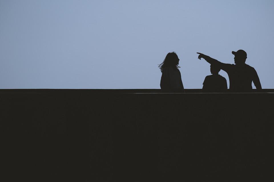 Sylwetka, Ludzie, Przyjaciele, Ciemny, Punkt