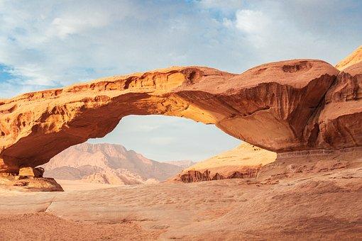 沙漠, 瓦迪拉姆, 约旦, 砂石, 景观, 性质, 中东, 沙, 干