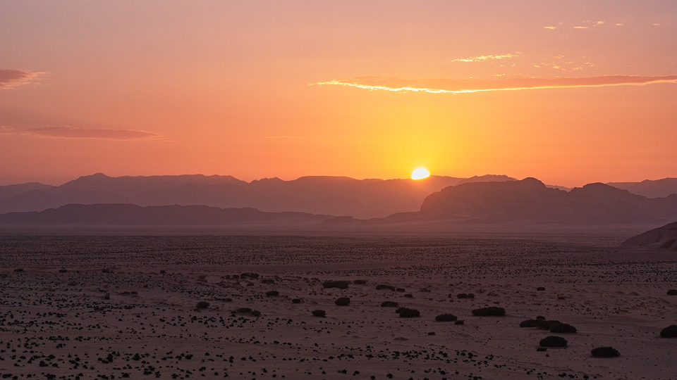Tramonto, Deserto, Wadi Rum, Giordania, Paesaggio