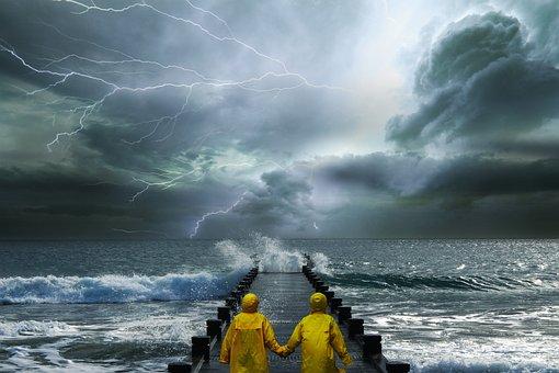 景观, 幻想, 风暴, 海, 网关, 雷, 云, 神秘