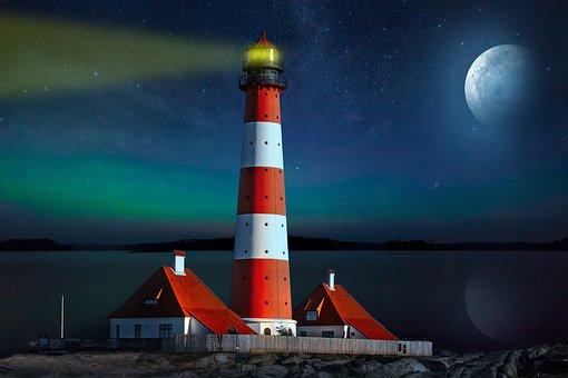 景观, 幻想, 灯塔, 海, 月亮, 天空, 云
