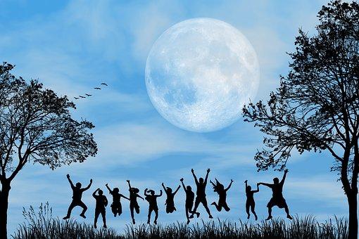 自然, 気分, 幸福, 幸せな時間, お楽しみください, 満月, 人々