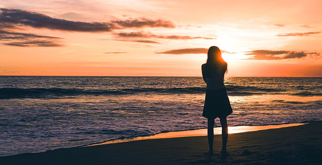 Woman, Beach, Sea, Ocean, Freedom, Water