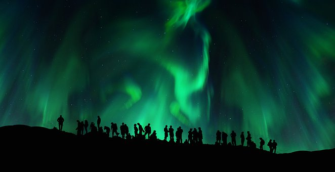 Northern Lights, Aurora, Light, Human