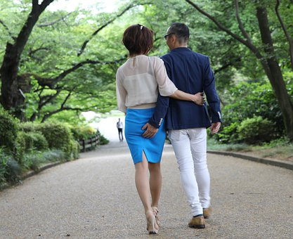カップル, 愛, デート, 後ろ姿, ロマンス, 感情, 幸せ, 男, 関係