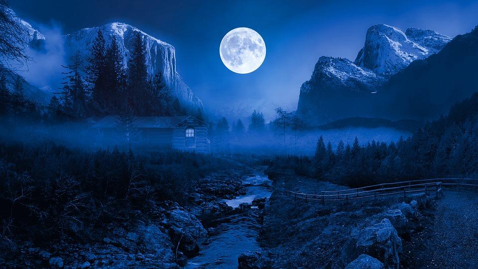 Landscape, Night, Moon, Stars, Storm, Nature, Winter