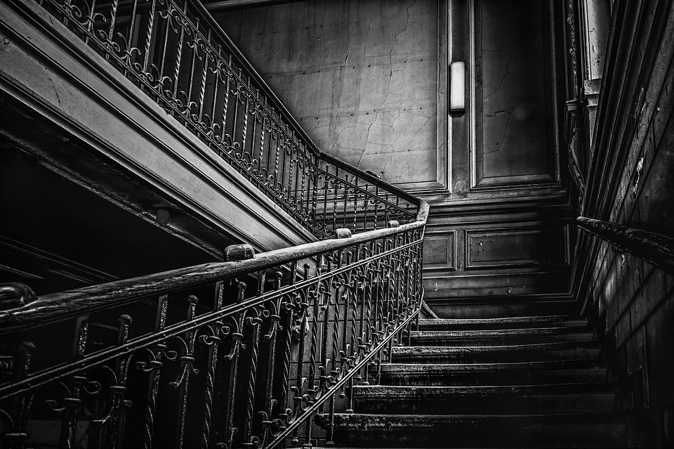 Stairs, Staircase, Gloomy, Railing, Pforphoto, Weird