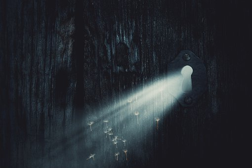 Ray Of Hope, Door, Key Hole, Sunbeam