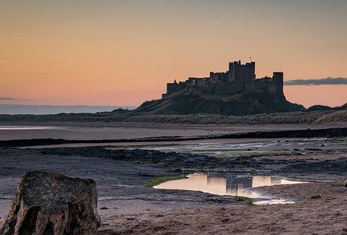 Bamburgh, Castle, Sunrise, Coast
