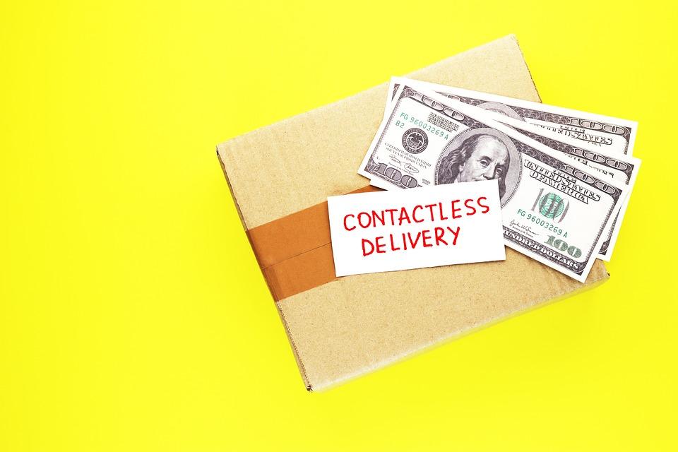 ボックス, ビジネス, カード, 段ボール, 宅配便, クレジット, 顧客, 配信, 手, ホーム